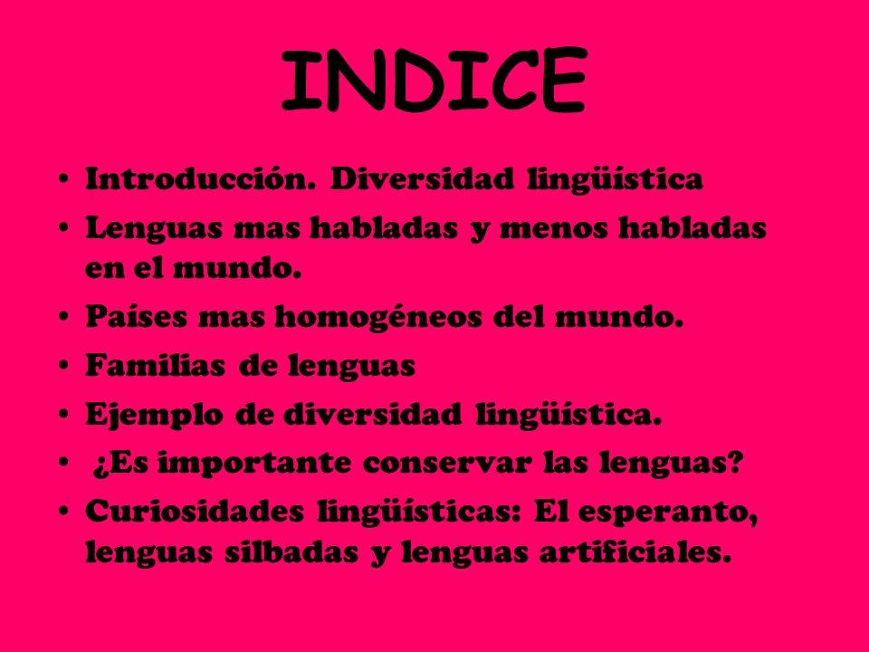 INDICE Introducción. Diversidad lingüística