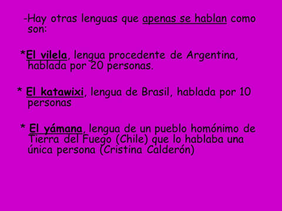 -Hay otras lenguas que apenas se hablan como son: