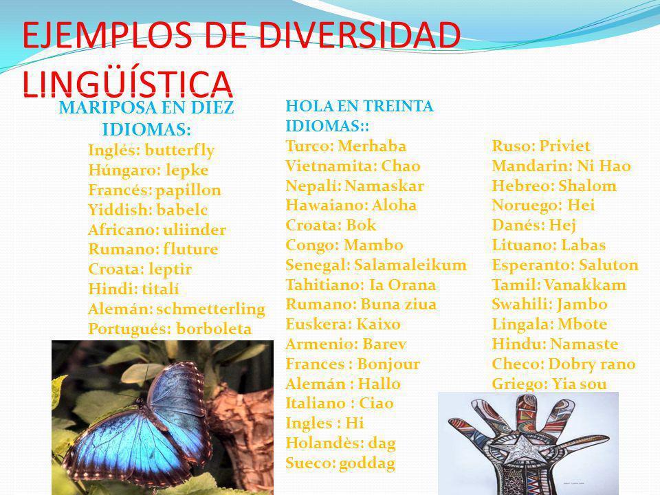 EJEMPLOS DE DIVERSIDAD LINGÜÍSTICA