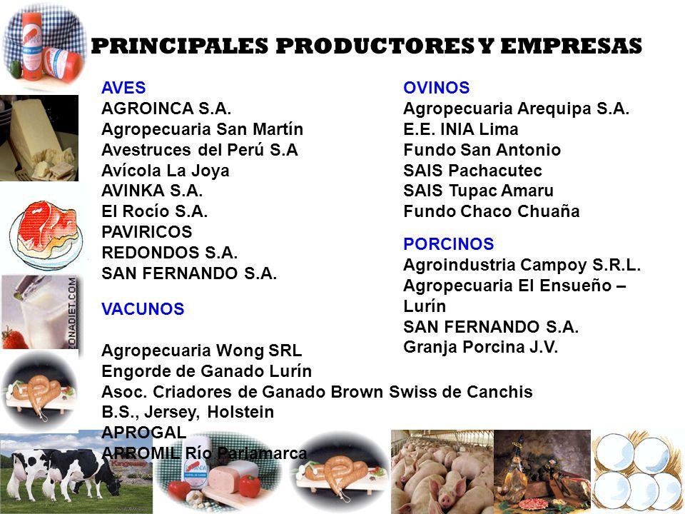 PRINCIPALES PRODUCTORES Y EMPRESAS