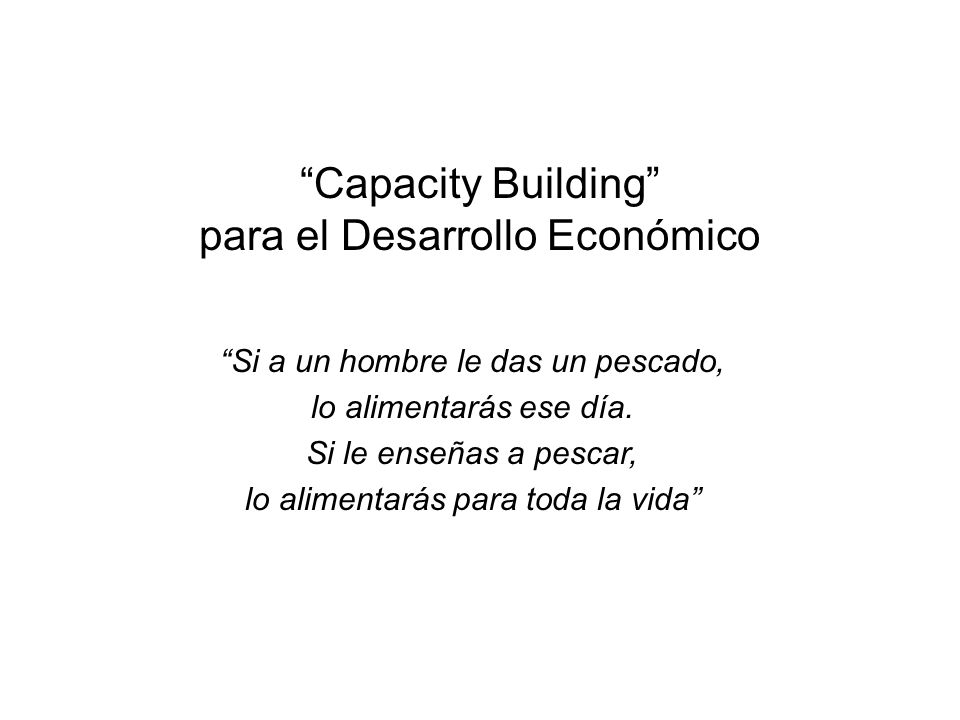 Capacity Building para el Desarrollo Económico