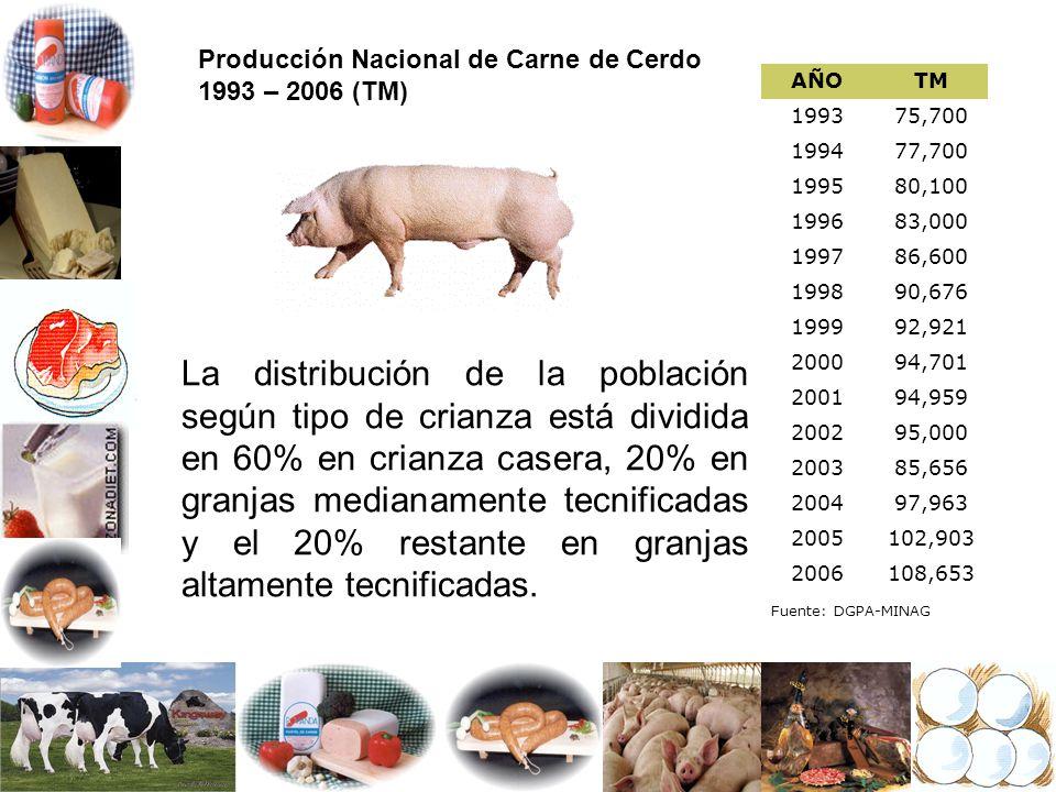 Producción Nacional de Carne de Cerdo 1993 – 2006 (TM)