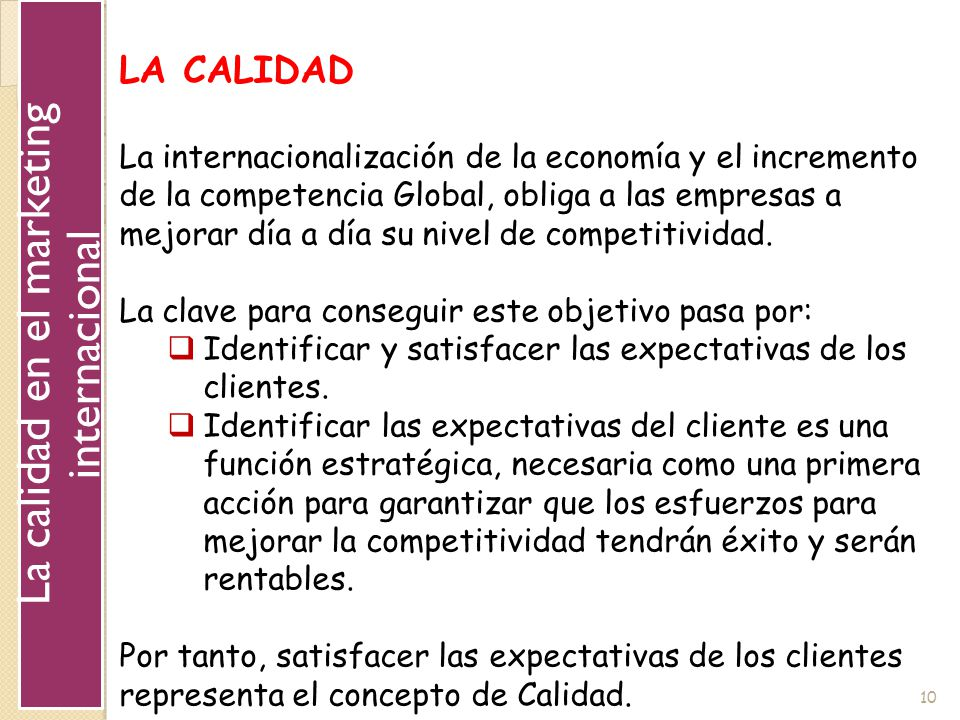 La calidad en el marketing internacional