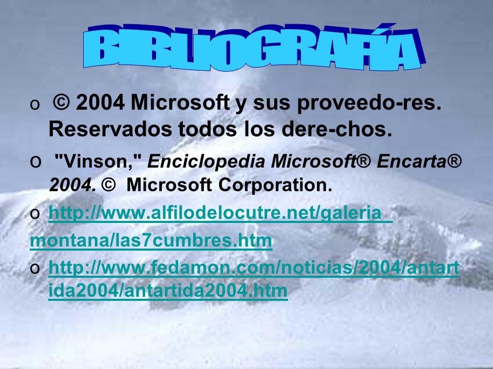 BIBLIOGRAFÍA © 2004 Microsoft y sus proveedo-res. Reservados todos los dere-chos.