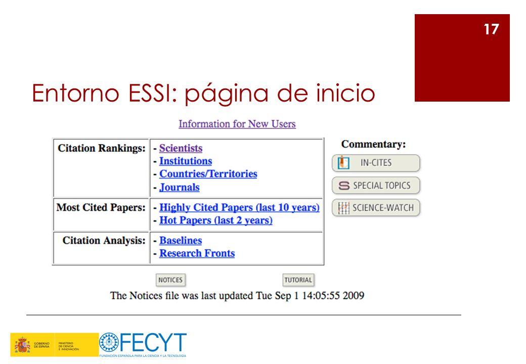 Entorno ESSI: página de inicio