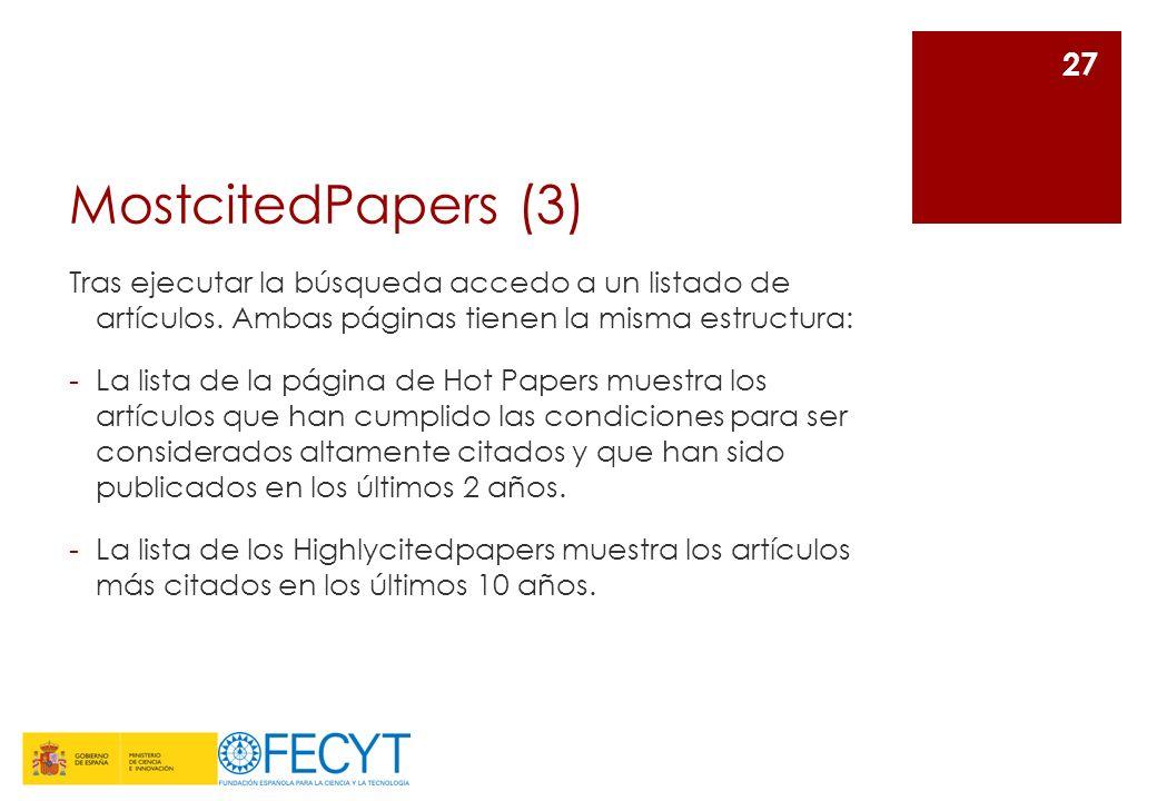 MostcitedPapers (3) Tras ejecutar la búsqueda accedo a un listado de artículos. Ambas páginas tienen la misma estructura: