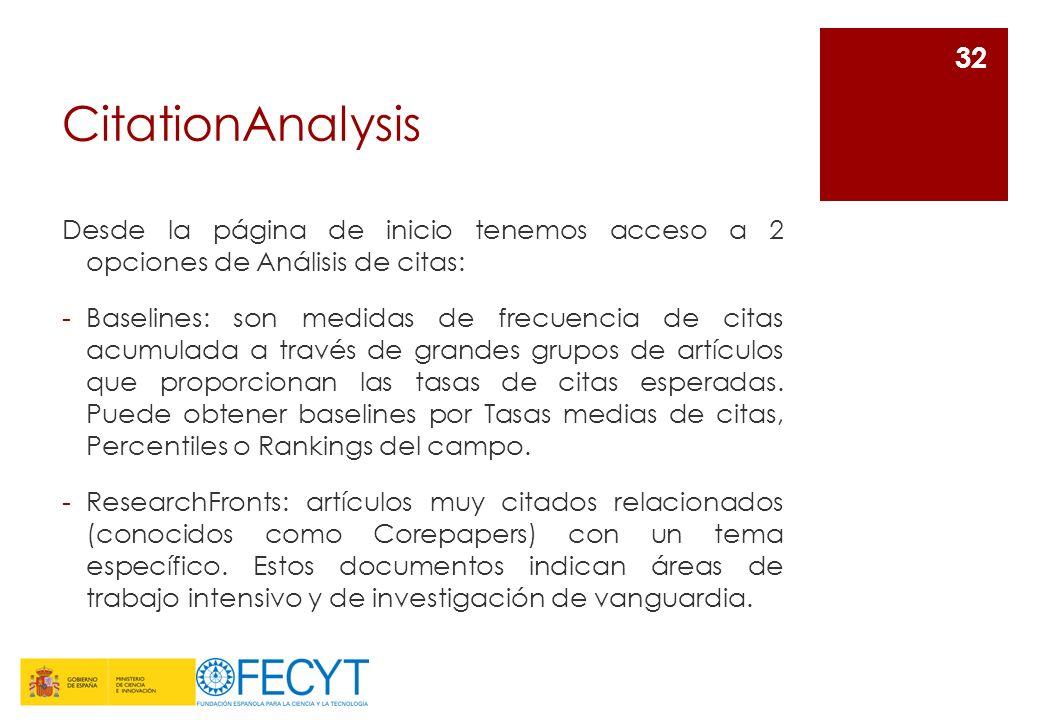 CitationAnalysis Desde la página de inicio tenemos acceso a 2 opciones de Análisis de citas: