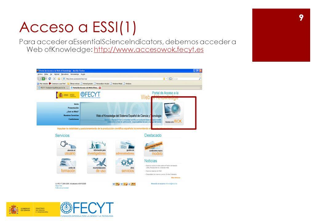 Acceso a ESSI(1)Para acceder aEssentialScienceIndicators, debemos acceder a Web ofKnowledge: http://www.accesowok.fecyt.es.