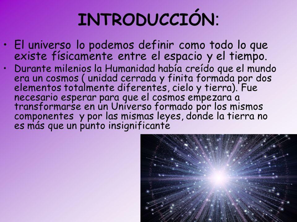 INTRODUCCIÓN: El universo lo podemos definir como todo lo que existe físicamente entre el espacio y el tiempo.