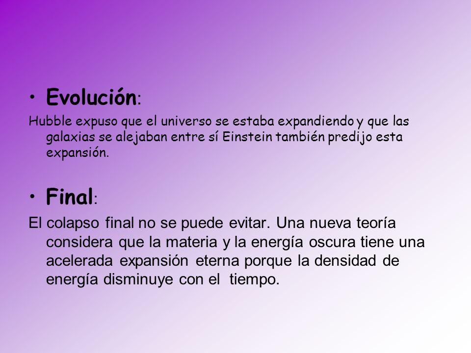 Evolución: Hubble expuso que el universo se estaba expandiendo y que las galaxias se alejaban entre sí Einstein también predijo esta expansión.