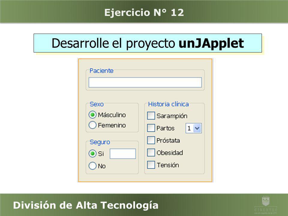 Desarrolle el proyecto unJApplet