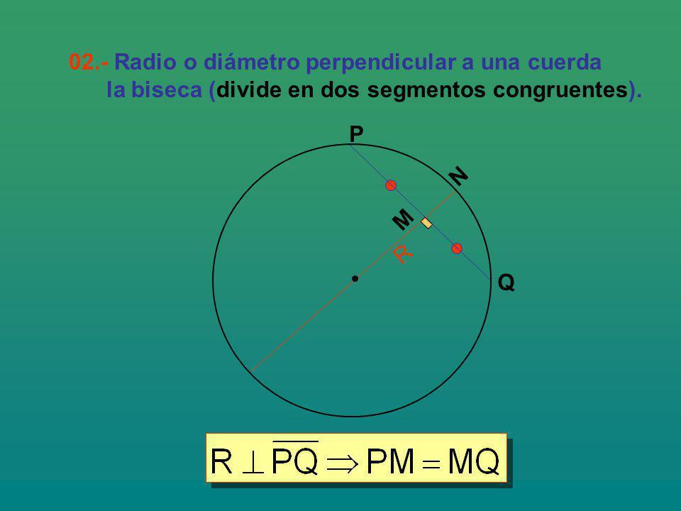 02.- Radio o diámetro perpendicular a una cuerda