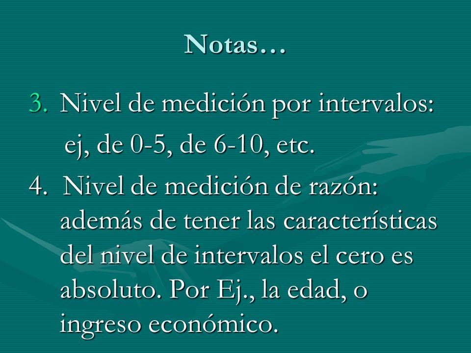 Notas… Nivel de medición por intervalos: ej, de 0-5, de 6-10, etc.