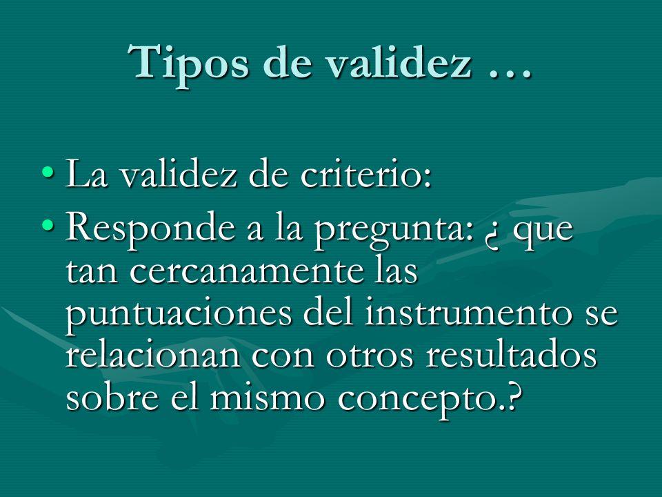Tipos de validez … La validez de criterio: