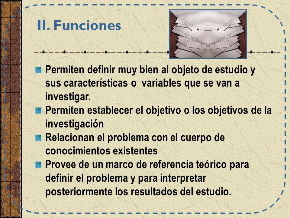 II. Funciones Permiten definir muy bien al objeto de estudio y sus características o variables que se van a investigar.