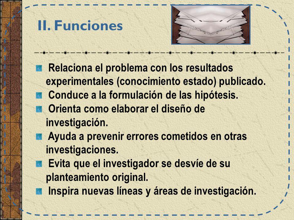 II. Funciones Relaciona el problema con los resultados experimentales (conocimiento estado) publicado.