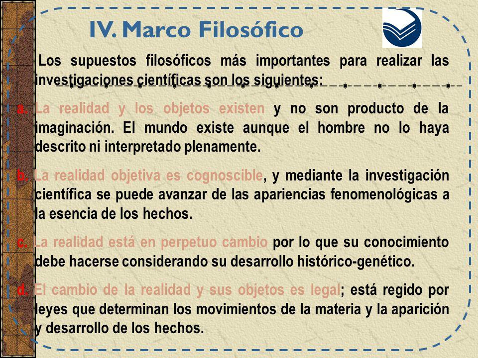 IV. Marco Filosófico Los supuestos filosóficos más importantes para realizar las investigaciones científicas son los siguientes: