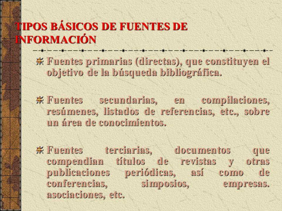TIPOS BÁSICOS DE FUENTES DE INFORMACIÓN