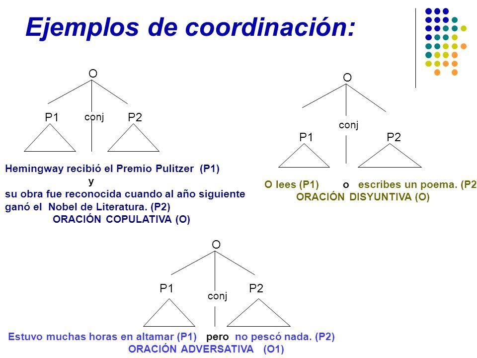 Ejemplos de coordinación: