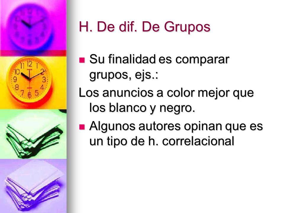 H. De dif. De Grupos Su finalidad es comparar grupos, ejs.: