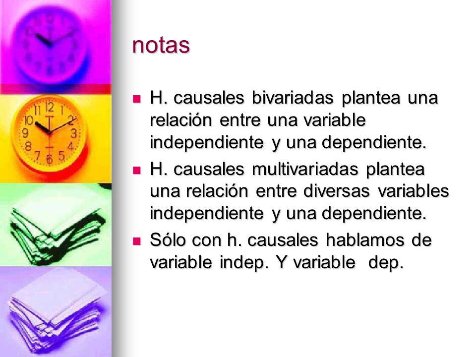notasH. causales bivariadas plantea una relación entre una variable independiente y una dependiente.