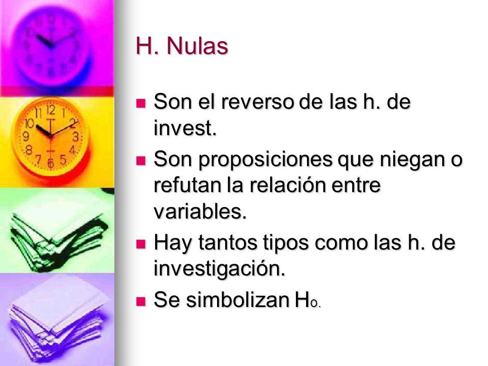 H. Nulas Son el reverso de las h. de invest.