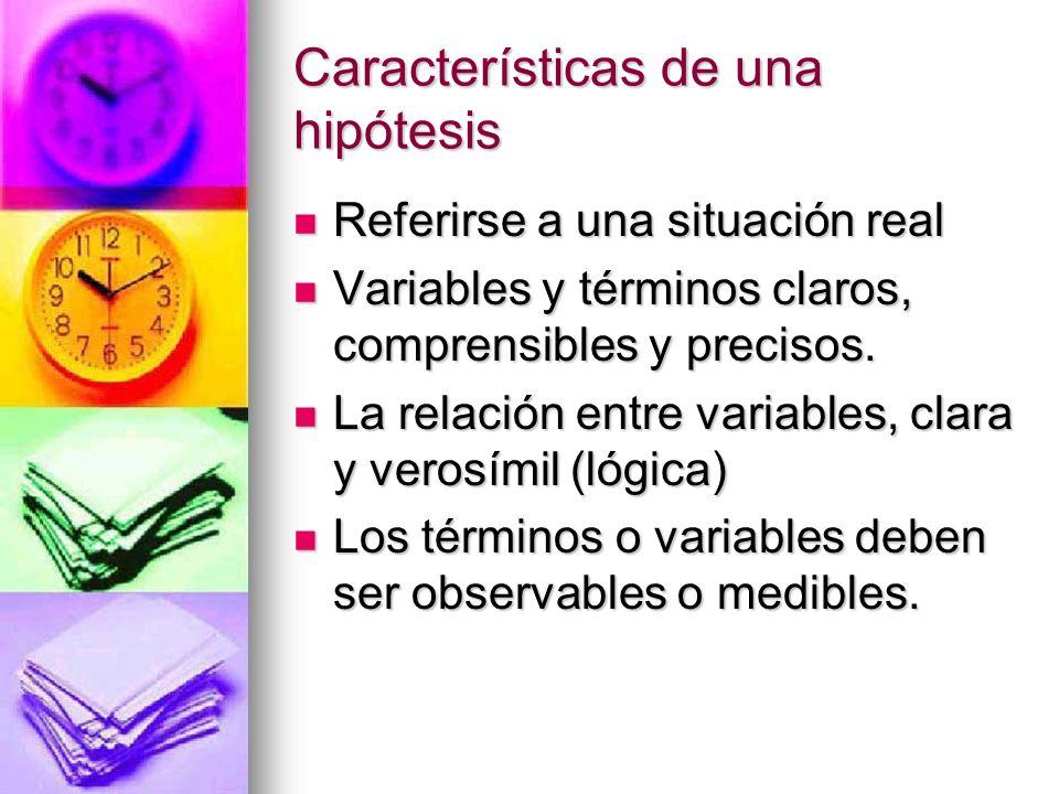 Características de una hipótesis