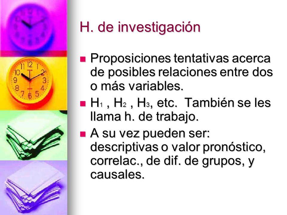 H. de investigación Proposiciones tentativas acerca de posibles relaciones entre dos o más variables.