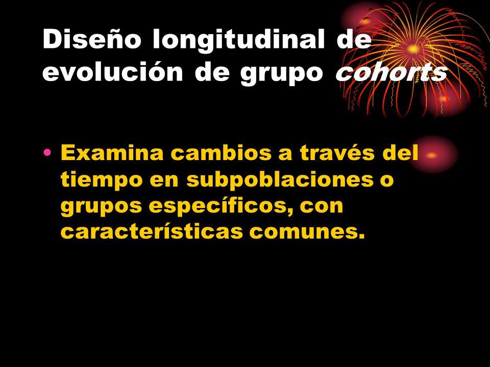 Diseño longitudinal de evolución de grupo cohorts