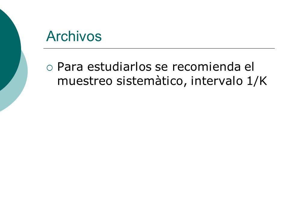 Archivos Para estudiarlos se recomienda el muestreo sistemàtico, intervalo 1/K