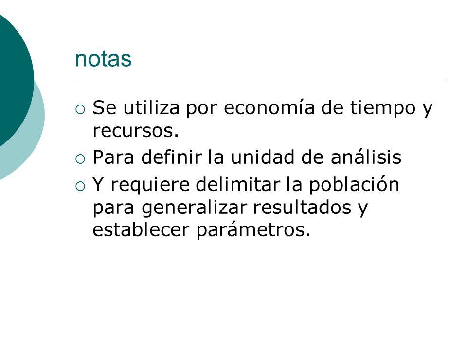 notas Se utiliza por economía de tiempo y recursos.