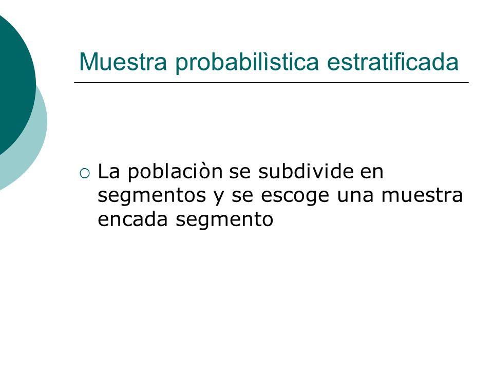Muestra probabilìstica estratificada