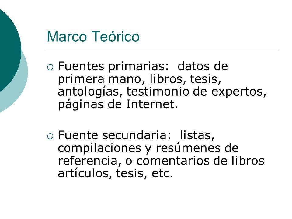 Marco Teórico Fuentes primarias: datos de primera mano, libros, tesis, antologías, testimonio de expertos, páginas de Internet.