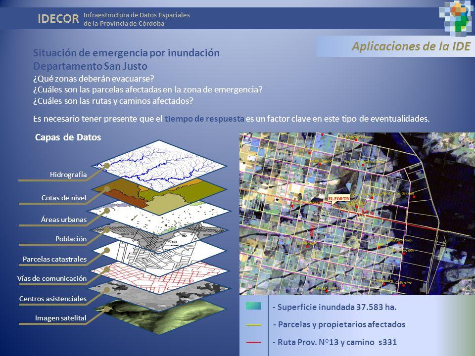 IDECOR Aplicaciones de la IDE Situación de emergencia por inundación