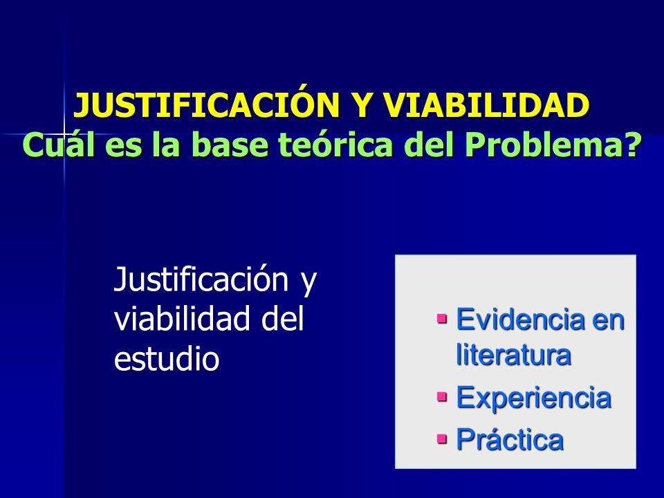JUSTIFICACIÓN Y VIABILIDAD Cuál es la base teórica del Problema