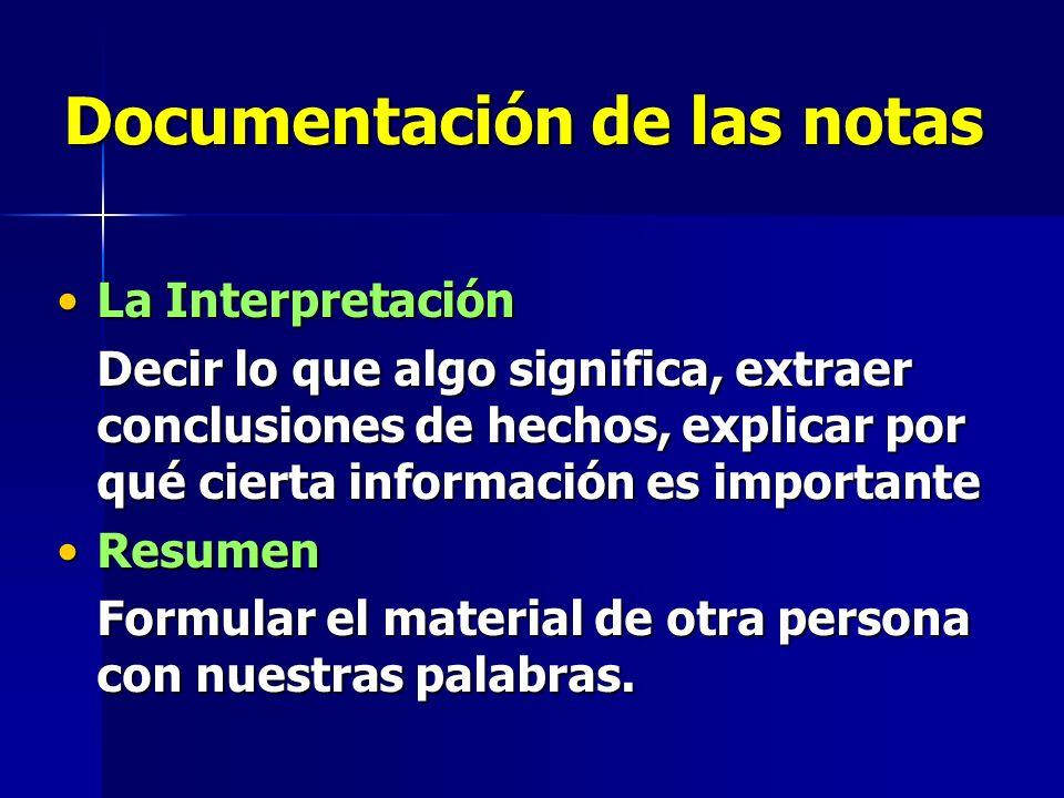 Documentación de las notas