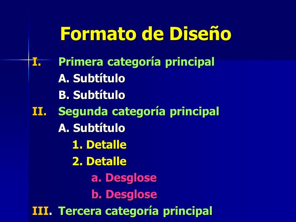 Formato de Diseño Primera categoría principal A. Subtítulo