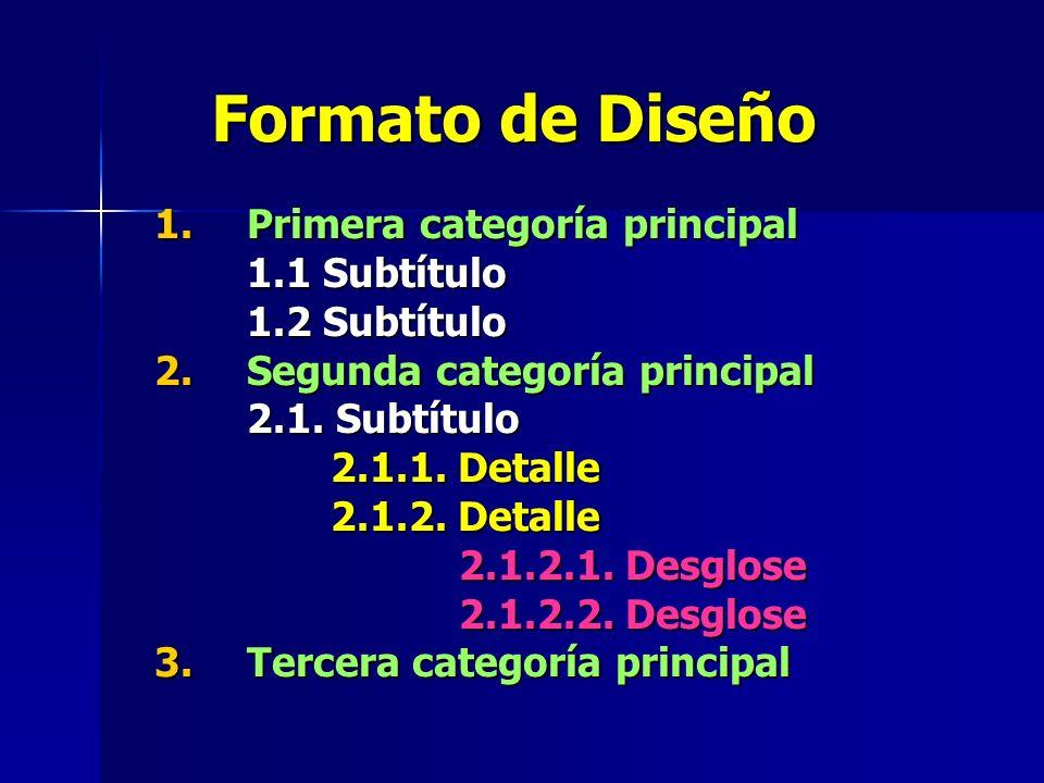 Formato de Diseño 1. Primera categoría principal 1.1 Subtítulo