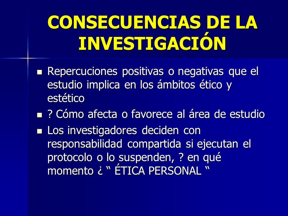 CONSECUENCIAS DE LA INVESTIGACIÓN