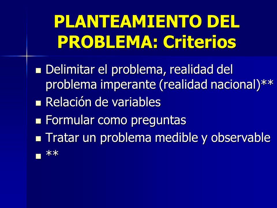 PLANTEAMIENTO DEL PROBLEMA: Criterios