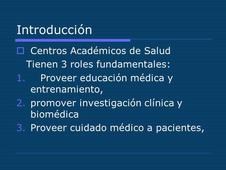 Introducción Centros Académicos de Salud Tienen 3 roles fundamentales: