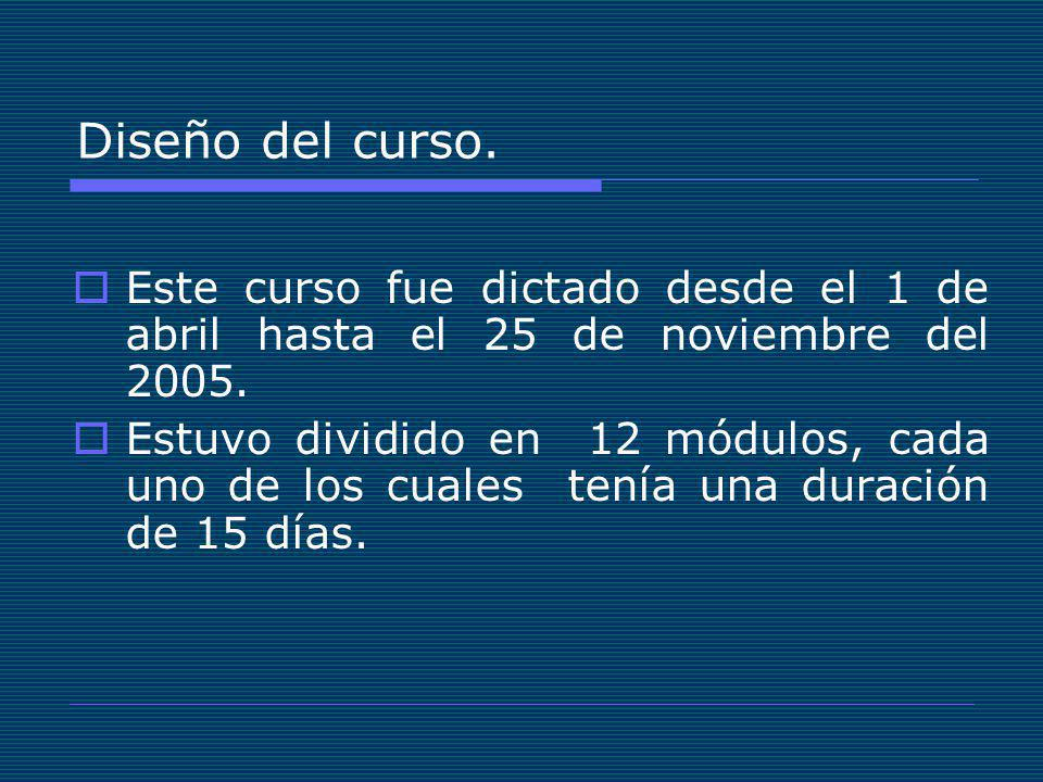 Diseño del curso. Este curso fue dictado desde el 1 de abril hasta el 25 de noviembre del 2005.