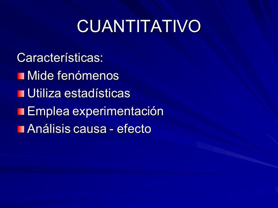 CUANTITATIVO Características: Mide fenómenos Utiliza estadísticas