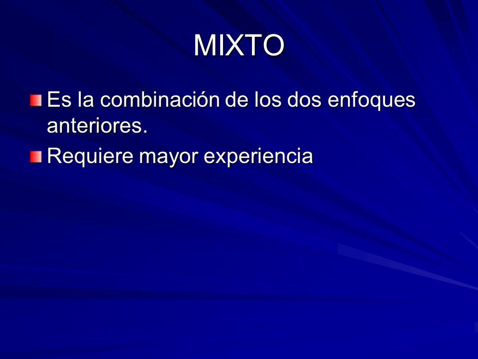 MIXTO Es la combinación de los dos enfoques anteriores.