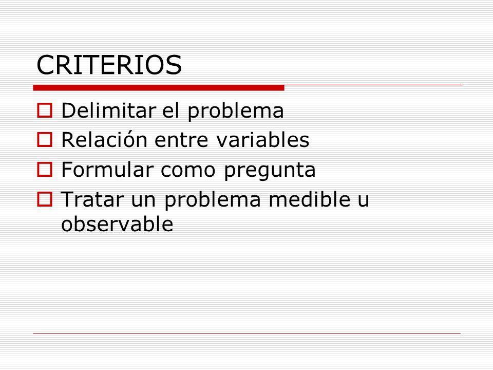 CRITERIOS Delimitar el problema Relación entre variables