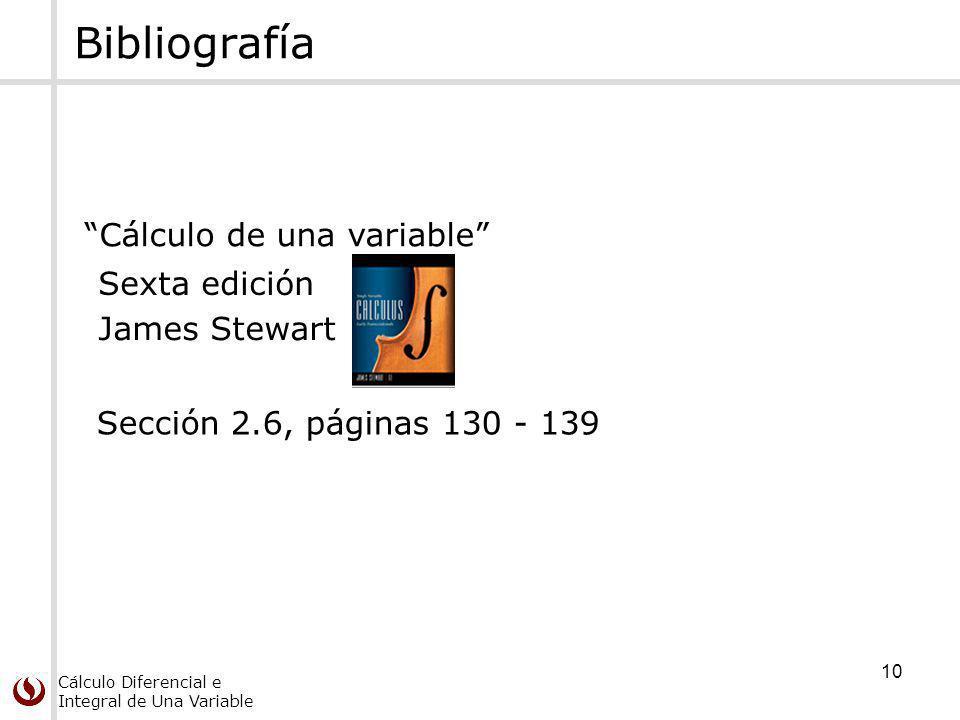Bibliografía Cálculo de una variable Sexta edición James Stewart