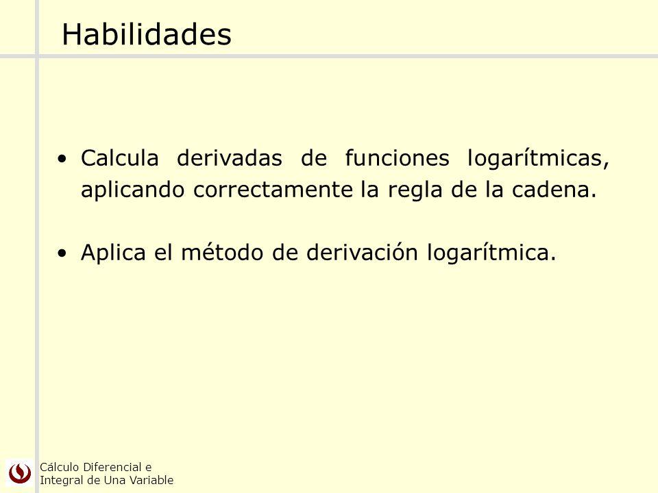 Habilidades Calcula derivadas de funciones logarítmicas, aplicando correctamente la regla de la cadena.