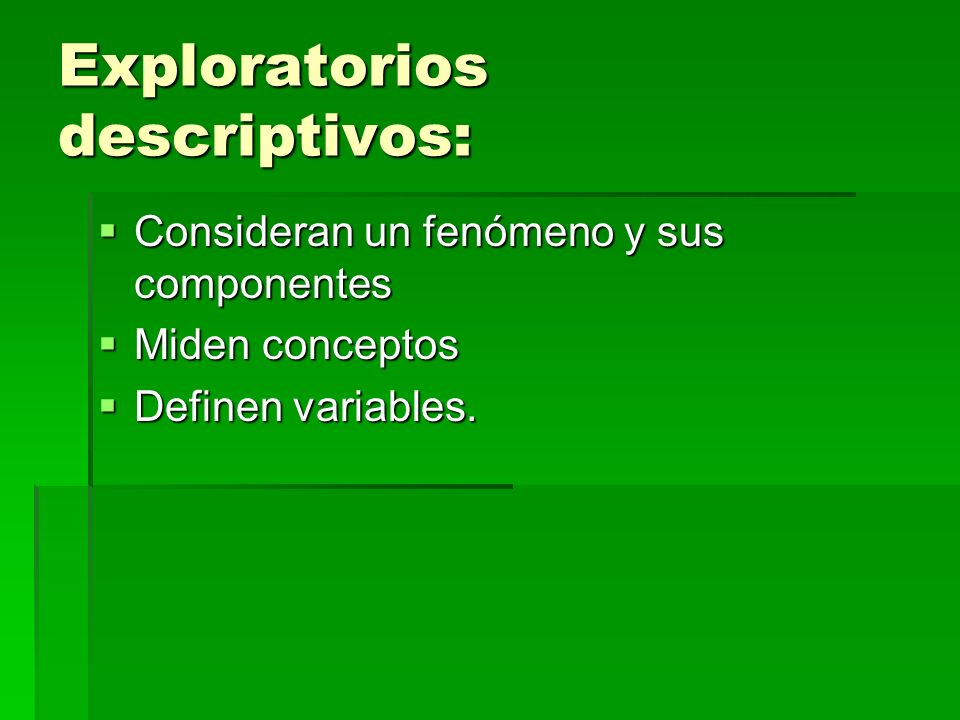 Exploratorios descriptivos:
