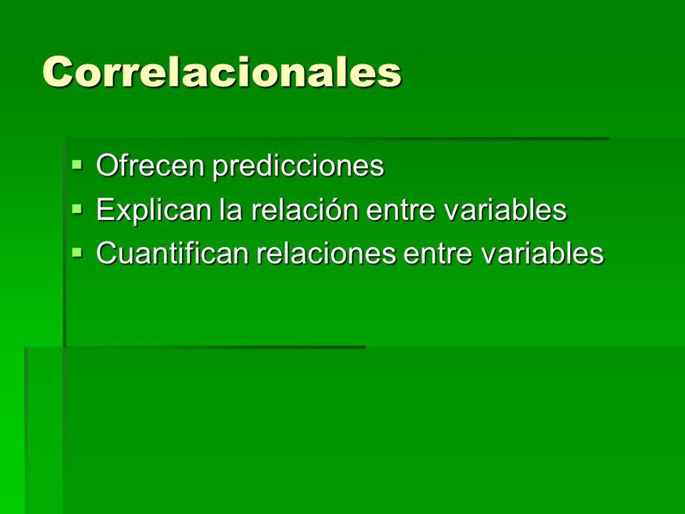 Correlacionales Ofrecen predicciones