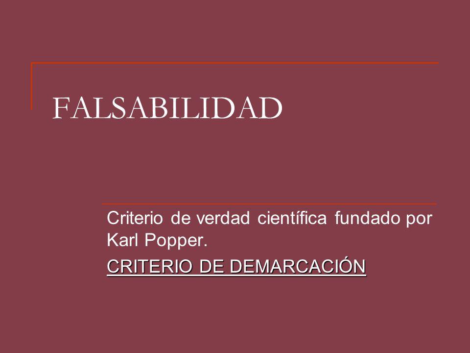 FALSABILIDAD Criterio de verdad científica fundado por Karl Popper.